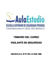 TEMARIO DEL CURSO VIGILANTE DE SEGURIDAD