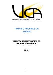 TEMARIO PRUEBAS DE GRADO CARRERA ADMINISTRACION DE RECURSOS HUMANOS