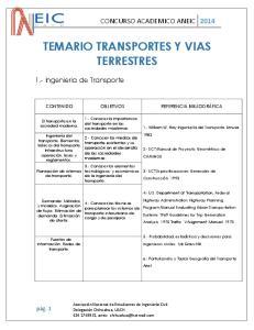 TEMARIO TRANSPORTES Y VIAS TERRESTRES