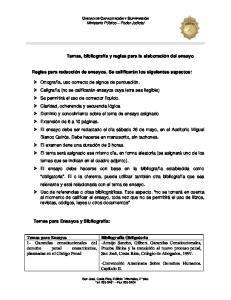 Temas, bibliografía y reglas para la elaboración del ensayo. Reglas para redacción de ensayos. Se calificarán los siguientes aspectos:
