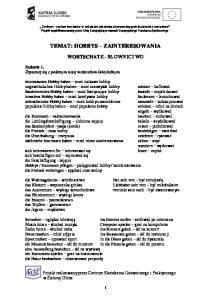TEMAT: HOBBYS ZAINTERESOWANIA