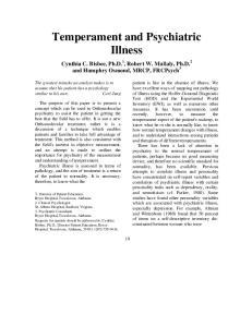 Temperament and Psychiatric Illness