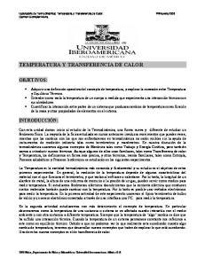TEMPERATURA Y TRANSFERENCIA DE CALOR