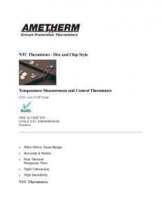 Temperature Measurement and Control Thermistors