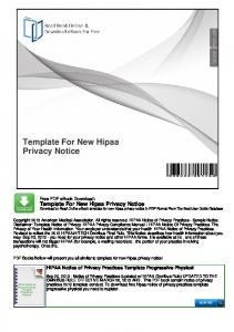 Template For New Hipaa Privacy Notice