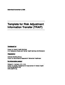Template for Risk Adjustment Information Transfer (TRAIT)