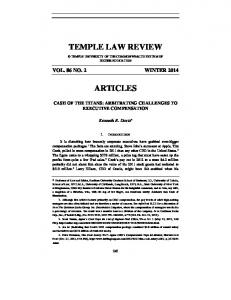 TEMPLE LAW REVIEW ARTICLES