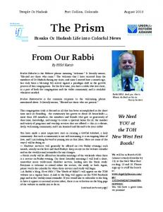 Temple Or Hadash Fort Collins, Colorado August The Prism. Breaks Or Hadash Life into Colorful News