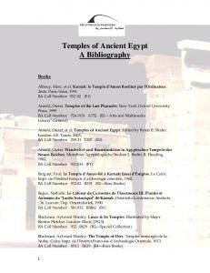 Temples of Ancient Egypt A Bibliography
