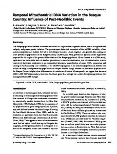 Temporal Mitochondrial DNA Variation in the Basque Country: Influence of Post-Neolithic Events