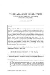 TEMPORARY AGENCY WORK IN EUROPE