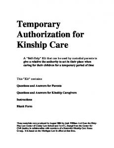 Temporary Authorization for Kinship Care