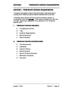 TEMPORARY SERVICE REQUIREMENTS SECTION I TEMPORARY SERVICE REQUIREMENTS
