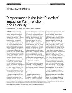 Temporomandibular Joint Disorders Impact on Pain, Function, and Disability