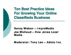 Ten Best Practice Ideas For Growing Your Online Classifieds Business