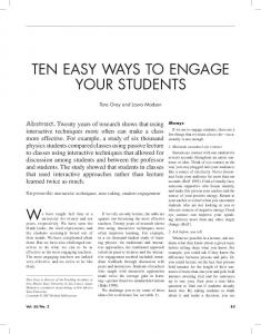 TEN EASY WAYS TO ENGAGE YOUR STUDENTS