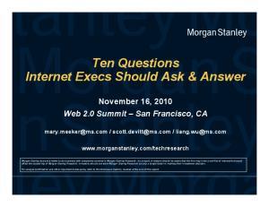 Ten Questions Internet Execs Should Ask & Answer