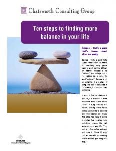Ten steps to finding more balance in your life