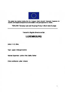 Tenant s Rights Brochure for LUXEMBOURG