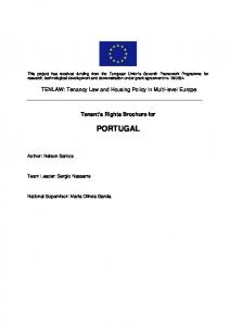 Tenant s Rights Brochure for PORTUGAL