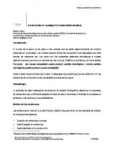 TENDENCIAS EN LA ARQUITECTURA HOSPITALARIA