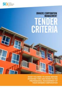 TENDER CRITERIA OWNERS CORPORATION MANAGEMENT