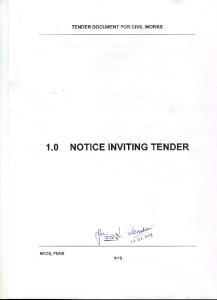 TENDER DOCUMENT FOR CIVIL WORKS