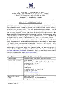 TENDER DOCUMENT FOR E-AUCTION