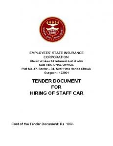 TENDER DOCUMENT FOR HIRING OF STAFF CAR