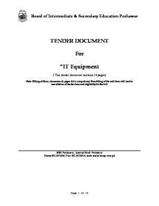 TENDER DOCUMENT. For. IT Equipment