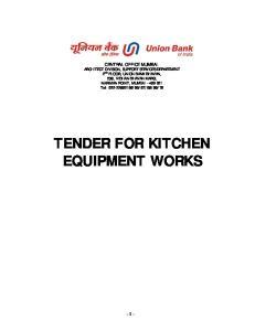TENDER FOR KITCHEN EQUIPMENT WORKS