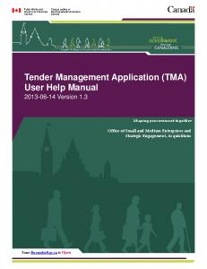 Tender Management Application (TMA) User Help Manual