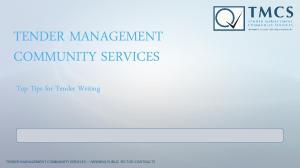TENDER MANAGEMENT COMMUNITY SERVICES