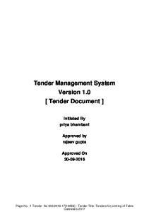 Tender Management System Version 1.0 [ Tender Document ]