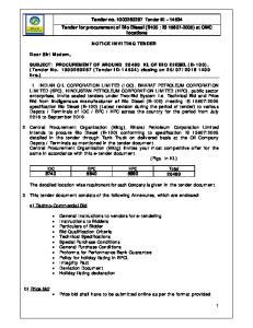 Tender no Tender ID Tender for procurement of Bio Diesel (B100 : IS ) at OMC locations