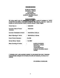 TENDER NOTICE BANK OF BARODA REGIONAL OFFICE 4TH FLOOR ANAND BHAWAN SANSAR CHANDRA ROAD JAIPUR