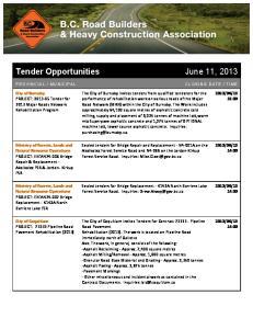 Tender Opportunities June 11, 2013