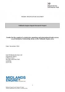 TENDER SPECIFICATION DOCUMENT. Midlands Engine Export Research Project
