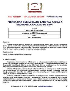 TENER UNA BUENA SALUD LABORAL AYUDA A MEJORAR LA CALIDAD DE VIDA
