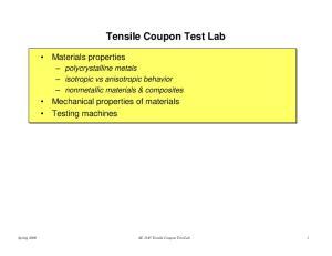 Tensile Coupon Test Lab