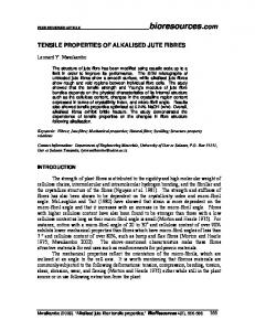 TENSILE PROPERTIES OF ALKALISED JUTE FIBRES