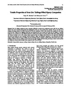 Tensile Properties of Iron Ore Tailings Filled Epoxy Composites