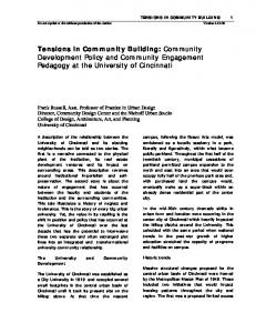Tensions in Community Building: Community Development Policy and Community Engagement Pedagogy at the University of Cincinnati