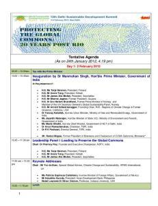 Tentative Agenda (As on 24th January 2012, 4.19 pm)