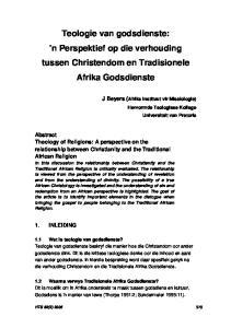 Teologie van godsdienste: n Perspektief op die verhouding tussen Christendom en Tradisionele Afrika Godsdienste