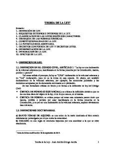 TEORIA DE LA LEY DEFINICION DE LEY