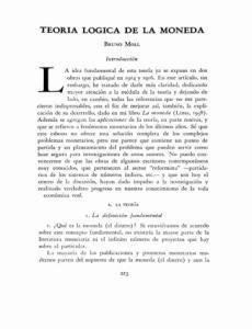 TEORíA LóGICA DE LA MONEDA