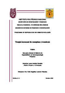Terapia hormonal de reemplazo y trombosis