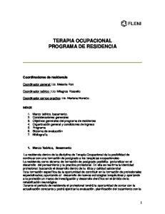 TERAPIA OCUPACIONAL PROGRAMA DE RESIDENCIA