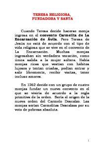 TERESA RELIGIOSA, FUNDADORA Y SANTA